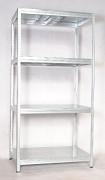 Regał metalowy Biedrax 35 x 75 x 180 cm - 4 półki metalowe x 175 kg, ocynkowany