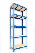 Regał metalowy Biedrax 35 x 75 x 210 cm - 5 półek x 275 kg, niebieski