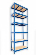 Regał metalowy Biedrax 35 x 75 x 210 cm - 6 półek x 275 kg, niebieski