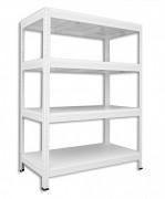 Regał metalowy Biedrax 35 x 75 x 90 cm - 4 półki białe x 275 kg, biały