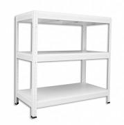 Regał metalowy Biedrax 35 x 75 x 120 cm - 3 półki białe x 275 kg, biały