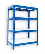 Regał metalowy Biedrax 35 x 90 x 90 cm - 4 półki białe x 275 kg, niebieski