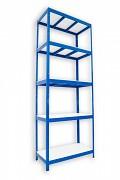 Regał metalowy Biedrax 35 x 90 x 210 cm - 5 półek białych x 275 kg, niebieski