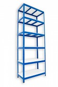Regał metalowy Biedrax 35 x 90 x 240 cm - 6 półek białych x 275 kg, niebieski