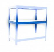 Półka 50 x 90 cm biały laminat - metalowy regał niebieski, nośność półki 275 kg