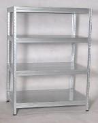 Regał metalowy Biedrax 45 x 90 x 120 cm - 4 półki metalowe x 275 kg, ocynkowany