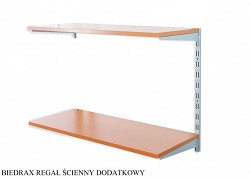 Regał ścienny wiszący dodatkowy 25 x 60 x 50 cm, 2 półki - kolor srebrny, półka czereśnia