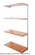 Regał ścienny wiszący dodatkowy 25 x 80 x 150 cm, 4 półki - kolor srebrny, półka czereśnia