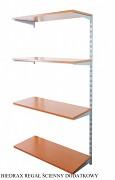Regał ścienny wiszący dodatkowy 40 x 40 x 150 cm, 4 półki - kolor srebrny, półka czereśnia