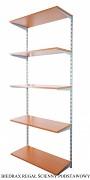 Regał ścienny wiszący podstawowy 50 x 40 x 200 cm, 5 półek - kolor srebrny, półka czereśnia