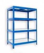 Regał metalowy Biedrax 60 x 75 x 90 cm - 4 półki metalowe x 120 kg, niebieski