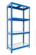 Regał metalowy Biedrax 35 x 75 x 180 cm - 4 półki metalowe x 120 kg, niebieski
