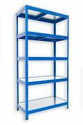 Regał metalowy Biedrax 35 x 60 x 180 cm - 5 półek metalowych x 120 kg, niebieski