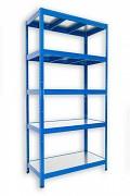Regał metalowy Biedrax 35 x 90 x 180 cm - 5 półek metalowych x 120 kg, niebieski