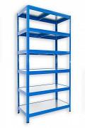 Regał metalowy Biedrax 60 x 60 x 180 cm - 6 półek metalowych x 120 kg, niebieski