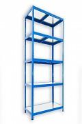 Regał metalowy Biedrax 35 x 75 x 210 cm - 5 półek metalowych x 120 kg, niebieski