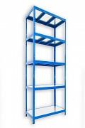 Regał metalowy Biedrax 50 x 90 x 210 cm - 5 półek metalowych x 120 kg, niebieski