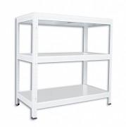 Regał metalowy Biedrax 35 x 75 x 90 cm - 3 półki metalowe x 120 kg, biały