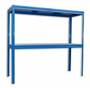 Regał metalowy Biedrax 60 x 160 x 180 cm, 2 półki - niebieski, nośność półki 200 kg