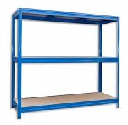 Regał metalowy Biedrax 60 x 160 x 180 cm, 3 półki - niebieski, nośność półki 200 kg