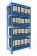 Regał archiwalny do segregatorów Biedrax 45 x 75 x 180 cm - 5 półek białych x 175 kg, niebieski
