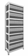 Regał archiwalny do segregatorów Biedrax 35 x 120 x 270 cm - 7 półek białych x 175 kg, biały