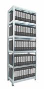 Regał archiwalny do segregatorów Biedrax 45 x 75 x 210 cm - 6 półek metalowych x 120 kg, ocynkowany