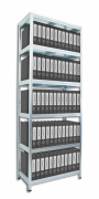 Regał archiwalny do segregatorów Biedrax 60 x 120 x 210 cm - 6 półek metalowych x 120 kg, ocynkowany