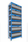 Regał archiwalny do segregatorów Biedrax 35 x 75 x 270 cm - 7 półek metalowych x 120 kg, niebieski