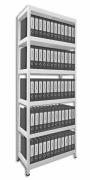 REGAŁ ARCHIWALNY DO SEGREGATORÓW BIEDRAX 35 X 60 X 210 CM - 6 PÓŁEK METALOWYCH X 120 KG, BIAŁY