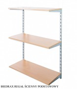 Regał ścienny wiszący podstawowy 30 x 40 x 100 cm, 3 półki - kolor srebrny, półka buk