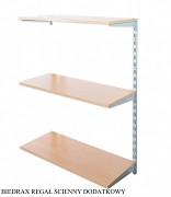 Regał ścienny wiszący dodatkowy 30 x 40 x 100 cm, 3 półki - kolor srebrny, półka buk