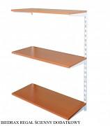 Regał ścienny wiszący dodatkowy 40 x 60 x 100 cm, 3 półki - kolor biały, półka czereśnia