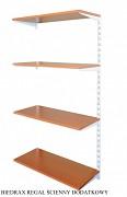 Regał ścienny wiszący dodatkowy 40 x 40 x 150 cm, 4 półki - kolor biały, półka czereśnia