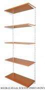 Regał ścienny wiszący podstawowy 40 x 40 x 200 cm, 5 półek - kolor biały, półka czereśnia