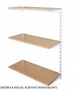 Regał ścienny wiszący dodatkowy 25 x 40 x 100 cm, 3 półki - kolor biały, półka buk