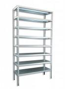 Regał metalowy Biedrax skręcany 60 x 130 x 250 cm, 8 półek - ocynk
