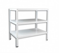 Regał metalowy Biedrax skręcany 40 x 100 x 100 cm, 3 półki - biały