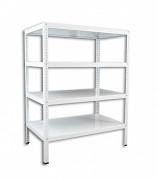 Regał metalowy Biedrax skręcany 45 x 100 x 200 cm, 4 półki - biały