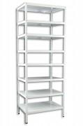 Regał metalowy Biedrax skręcany 45 x 130 x 250 cm, 8 półek - biały