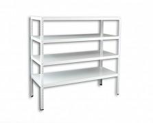 Regał metalowy Biedrax skręcany 60 x 150 x 150 cm, 4 półki - biały