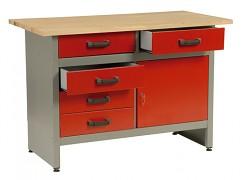 stół roboczy do warsztatu, z szufladami - Biedrax PS5802CV - czerwony
