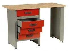 stół roboczy do warsztatu, z szufladami - Biedrax PS5803CV - červený