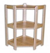drewniany regał z drewna litego - rogowy 70 x 70 x 89 cm, 3 półki