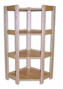drewniany regał z drewna litego - rogowy 70 x 70 x 127,5 cm, 4 półki