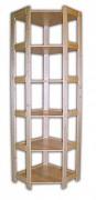 drewniany regał z drewna litego - rogowy 70 x 70 x 204 cm, 6 półek