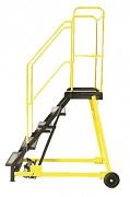 drabina ruchoma platformowa schody blacha z taśmą antypoślizgową, 5 stopni - ZP4601 Biedrax