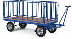 Duży wózek platformowy Biedrax PV1580 - metalowe ogrodzenie
