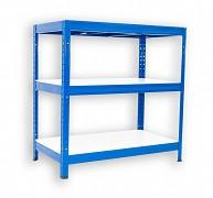 Regał metalowy Biedrax 35 x 75 x 90 cm - 3 półki białe x 275 kg, niebieski