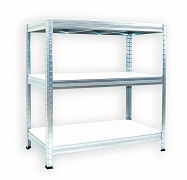 Regał metalowy Biedrax 35 x 75 x 90 cm - 3 półki białe x 275 kg, ocynkowany
